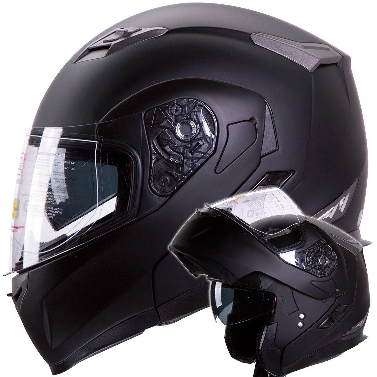 snowmobile matte black dual black dual visor modular helmet