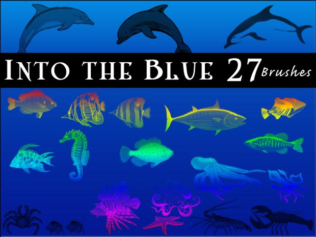 blue sea fish brushes