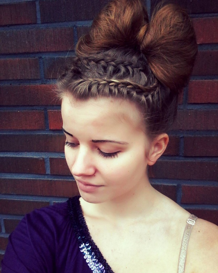 braided bow bun hairstyle