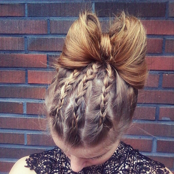 dutch braid bow bun hair