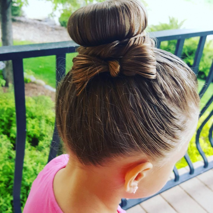 kids bow bun hairstyle