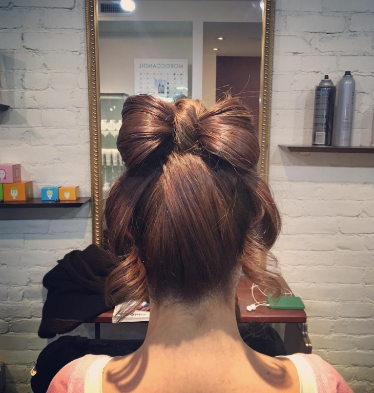 silky and shiny bow bun hair