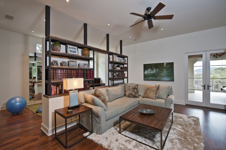Living Room With Shelves Partition Idea