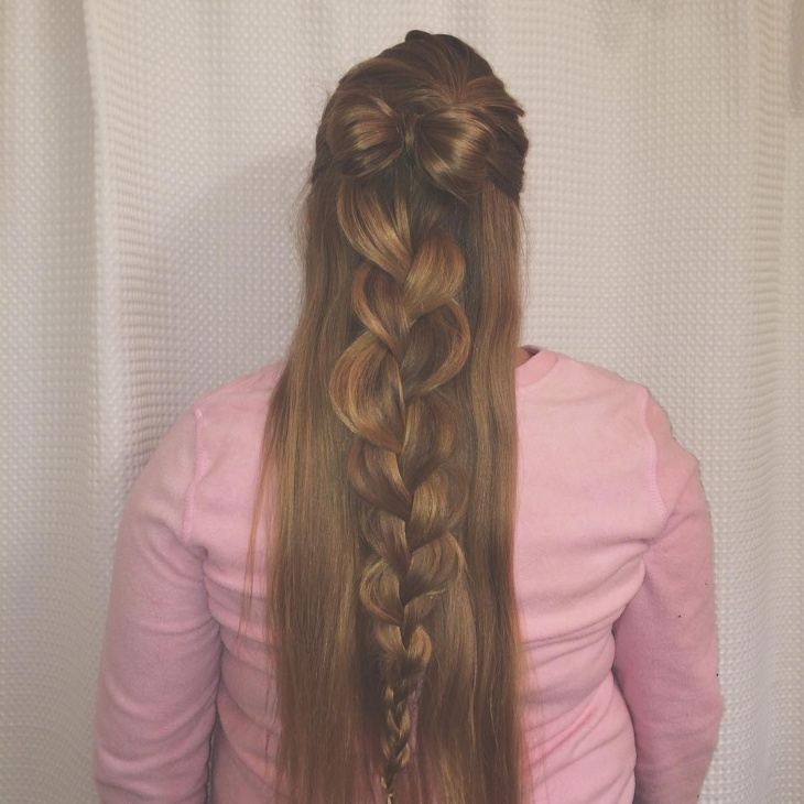 bow hairstyle for long hair