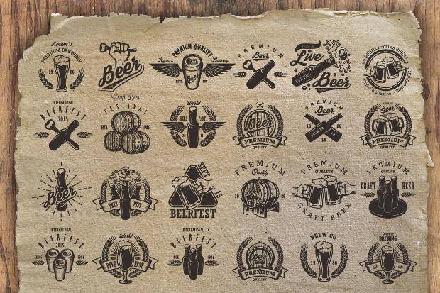 set of beer logo templates