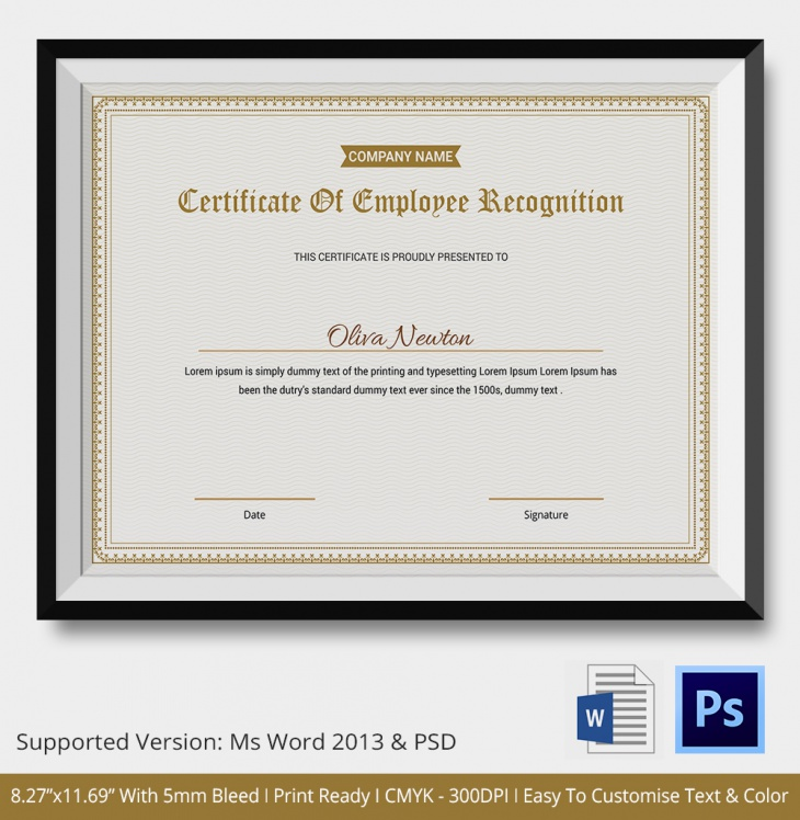 certificate of employee recognition
