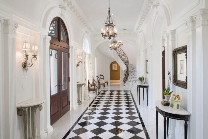 black white flooring hallway table