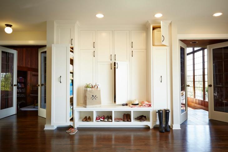 white hallway cabinet design