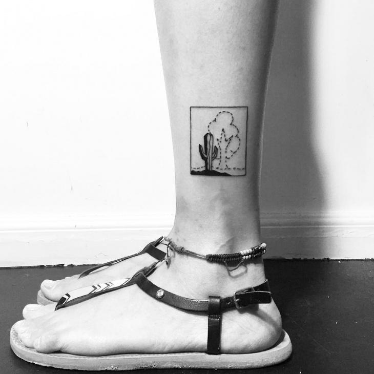 black and white cactus tattoo