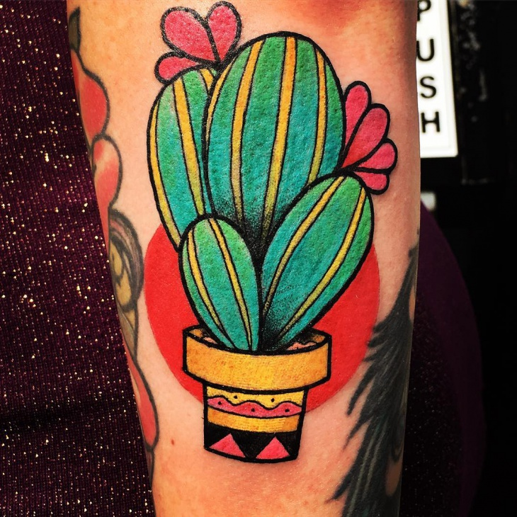 Cactus Flower Tattoo Design