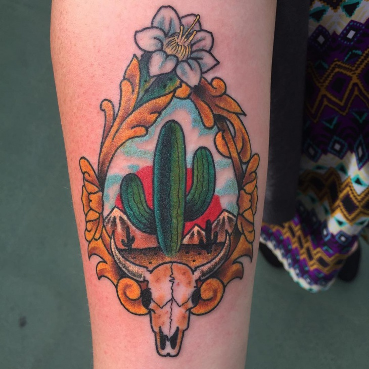traditional cactus tattoo