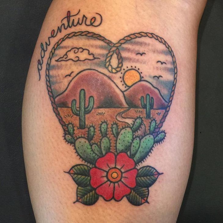 Love Symbol Cactus Tattoo