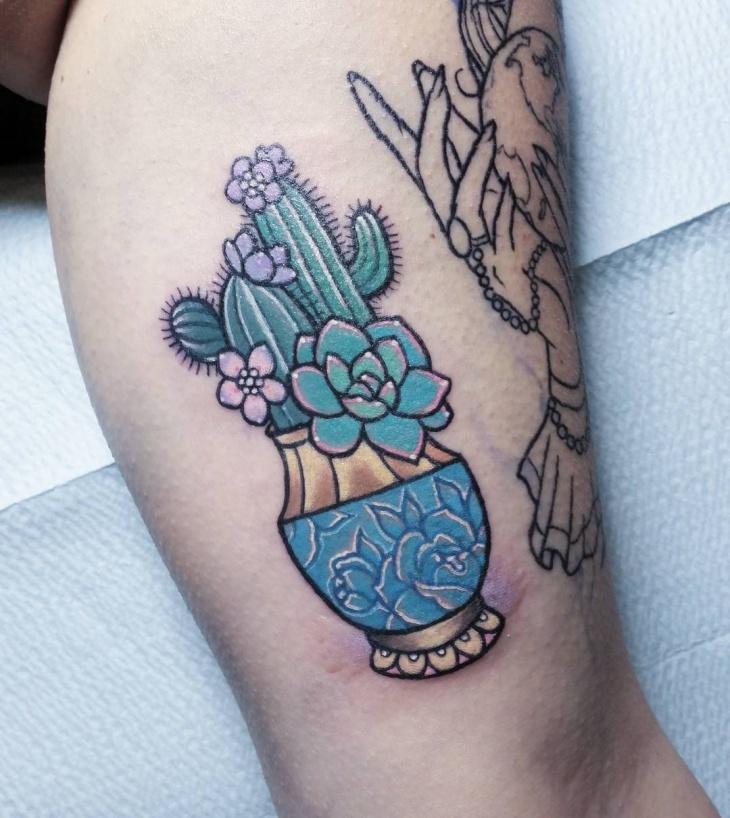 Blue Cactus Tattoo