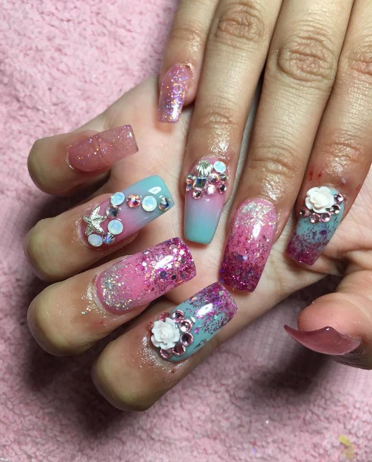 colorful seashell nail design