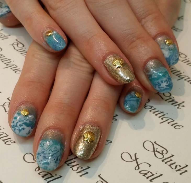 glitter seashell nails