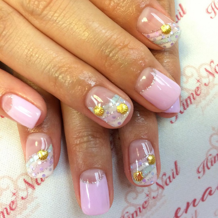 pink seashell nails