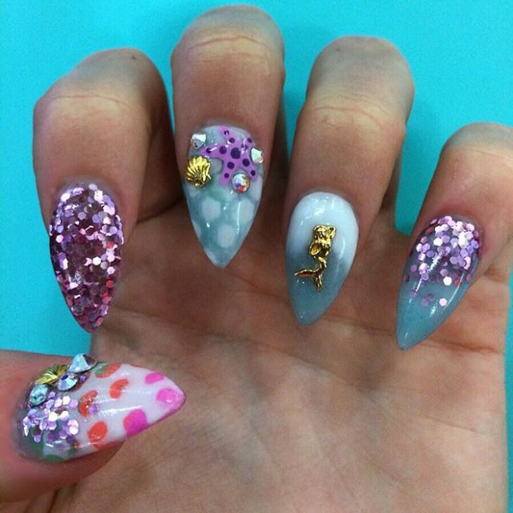 seashell nail art for long nails