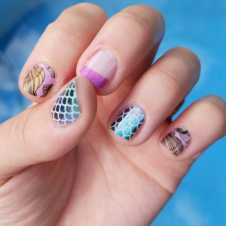 cute seashell nails idea