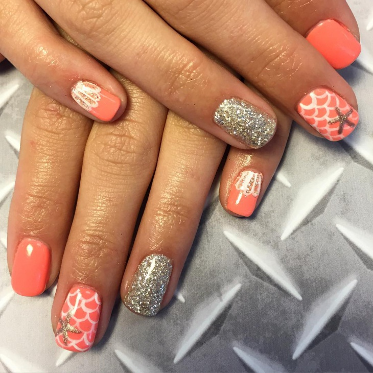 handpainted seashell nail art
