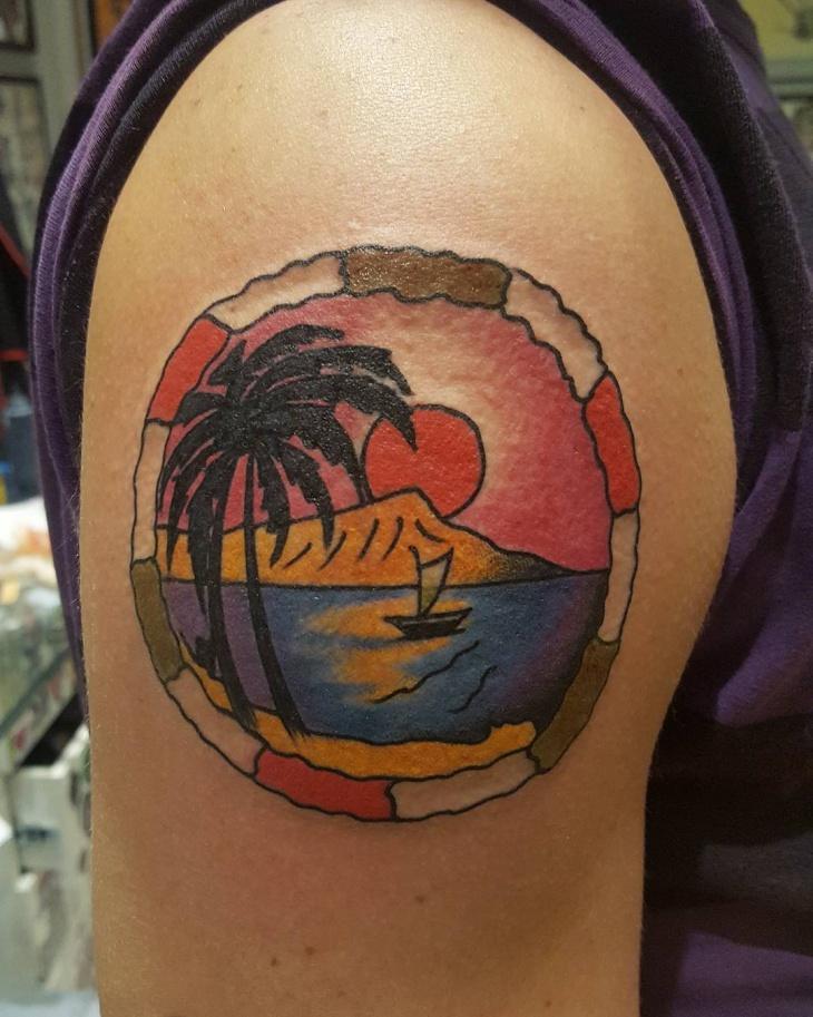 Traditional Beach Tattoo Design