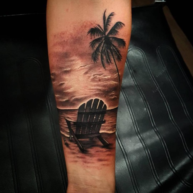 Black And White Sunset Tattoos: 21+ Beach Tattoo Designs, Ideas