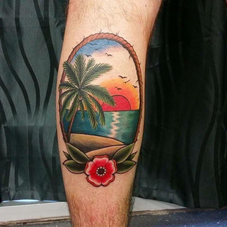 Beautiful Beach Tattoo Idea