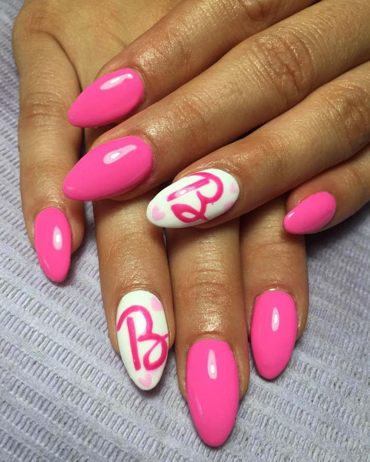 barbie pink nail art idea
