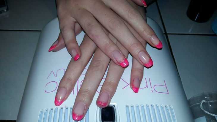 barbie tip nail design