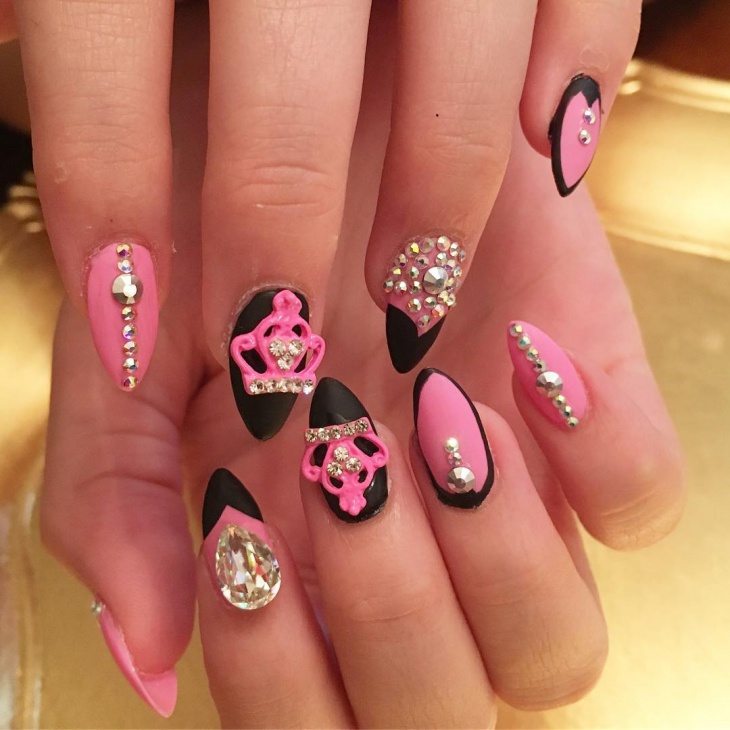 rhinestone barbie nails