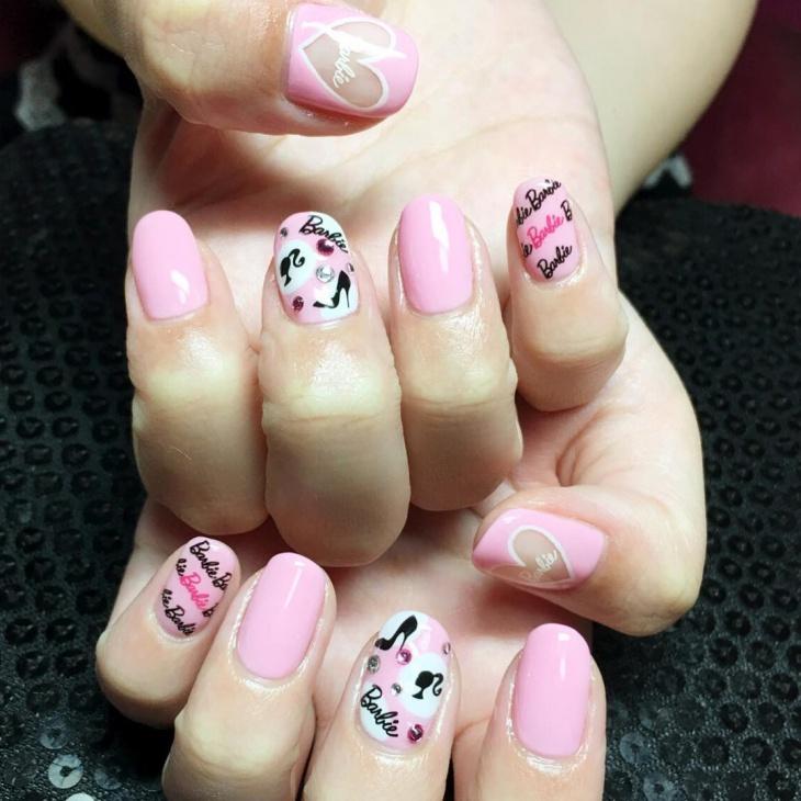 Baby Pink Barie Nail Art