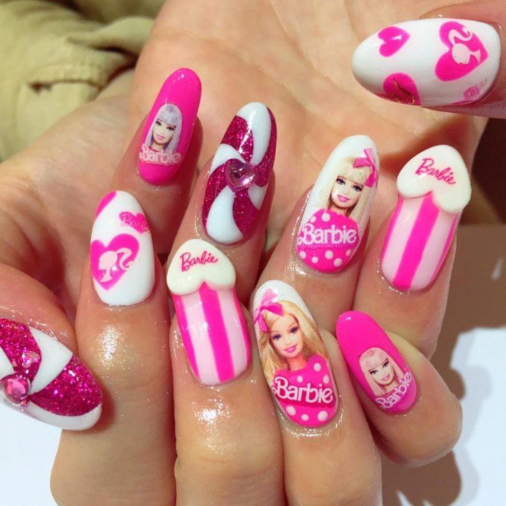 cute barbie nail design