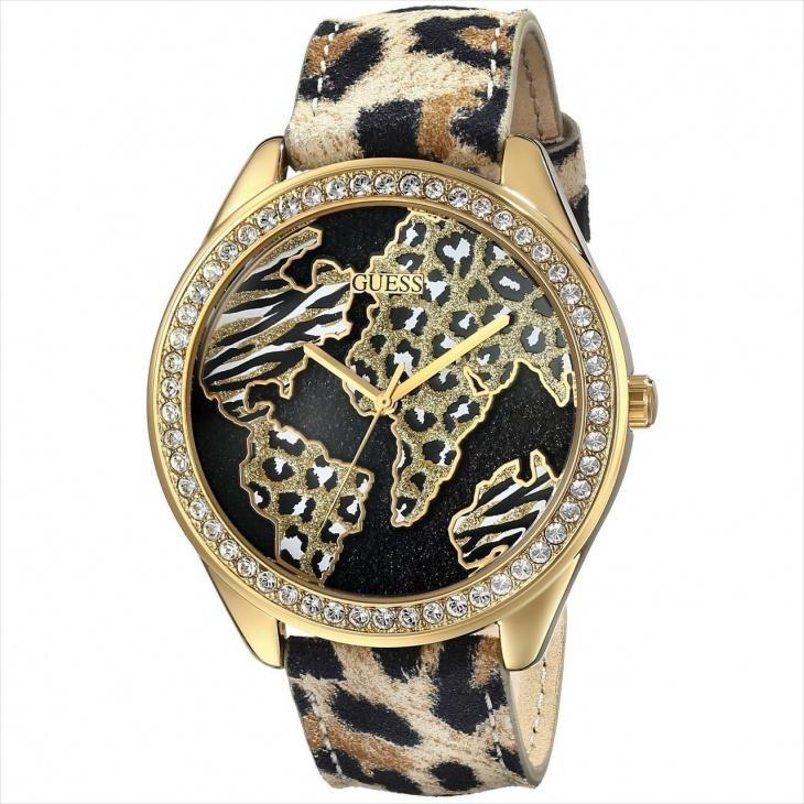 guess animal print band watch