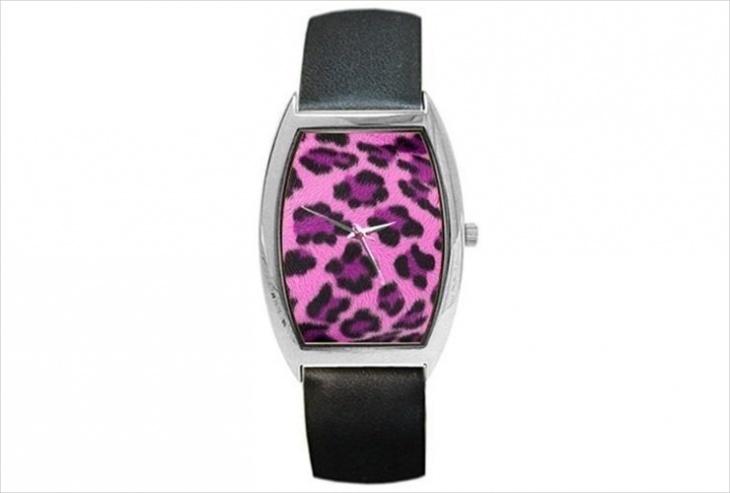 leopard print metal watch