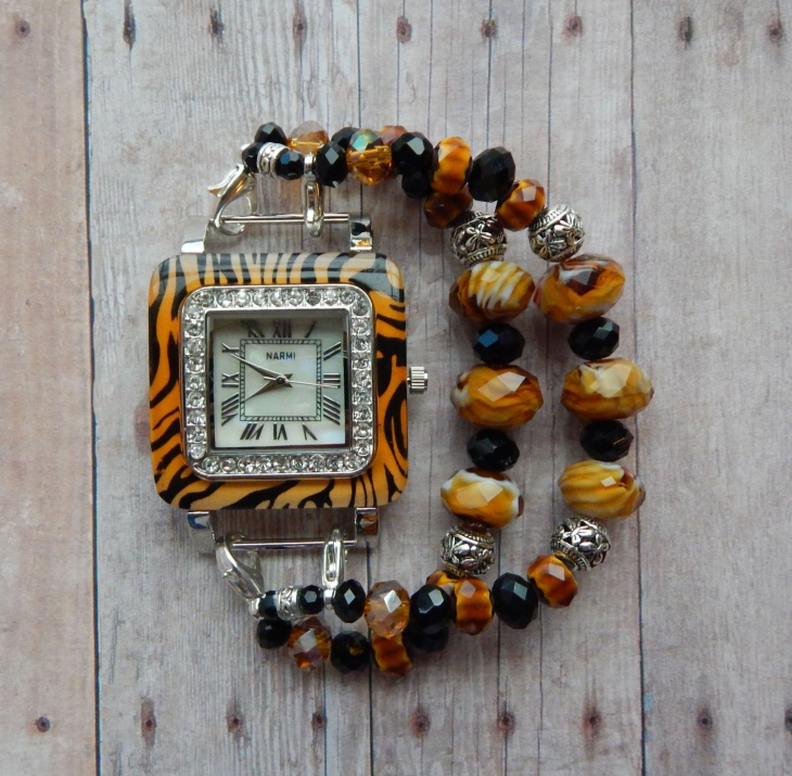 animal print crystal watches