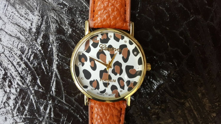 leopard print leather watch