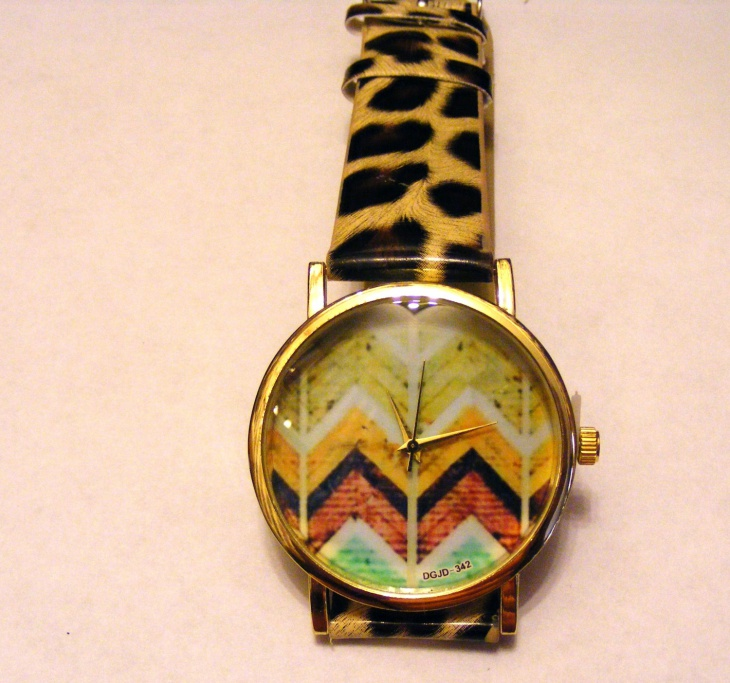 animal print leather strap watch