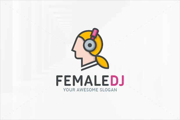 female dj logo design