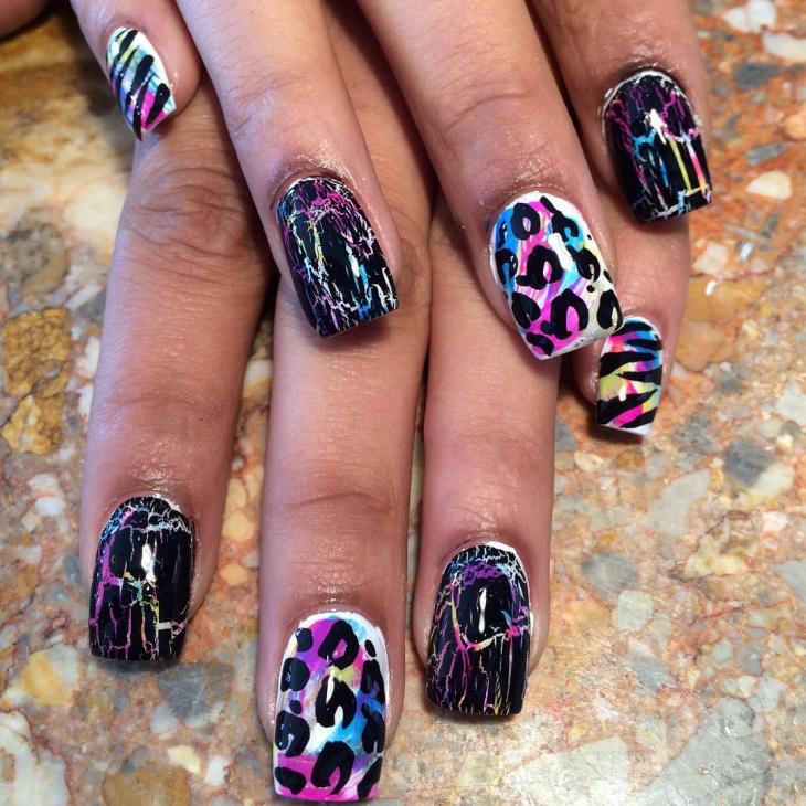 Leopard Crackle Nail Designs