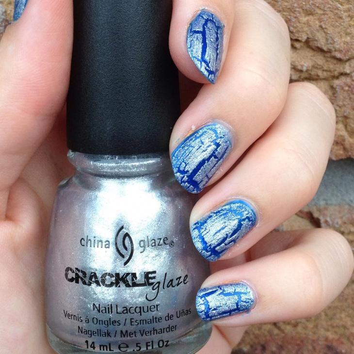 Glitter Crackle Nails