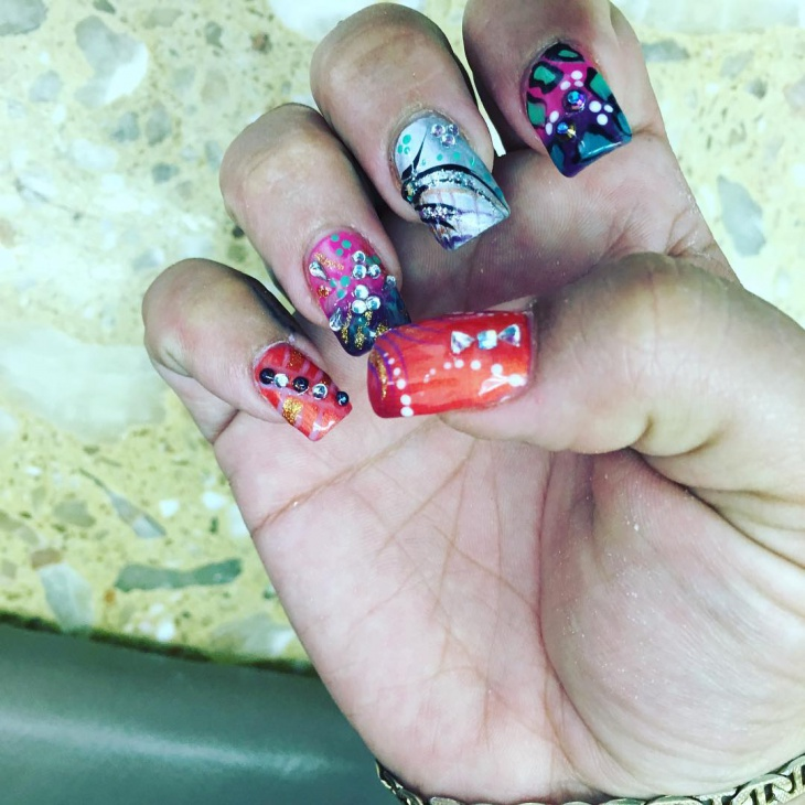Crackle Nails with Rhinestones