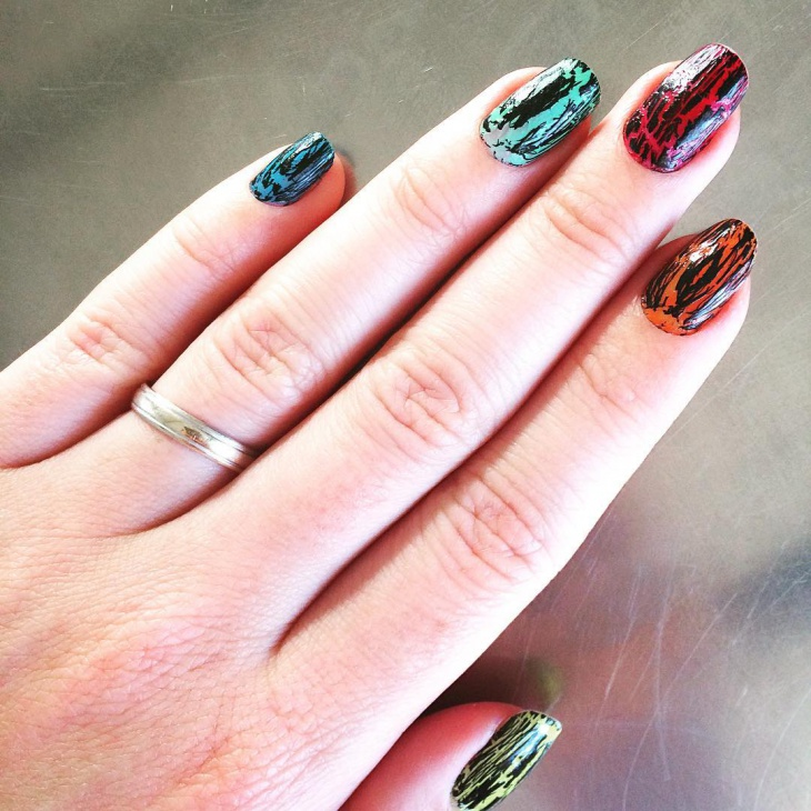 Colorful Crackle Nail Design