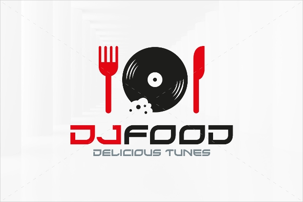 dj food logo template