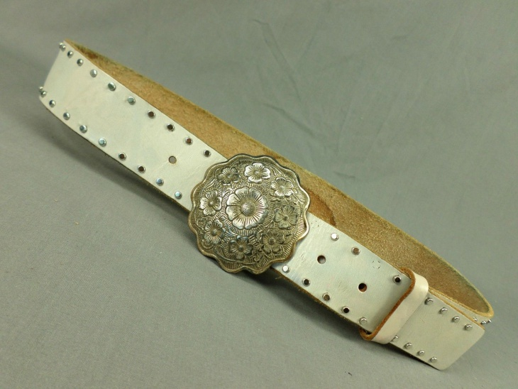 White Distressed Leather Belt