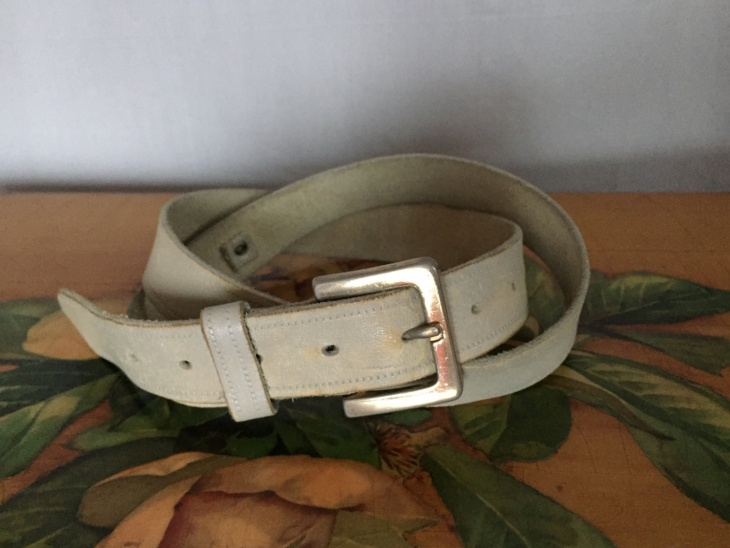 Distressed Grey Leather Belt