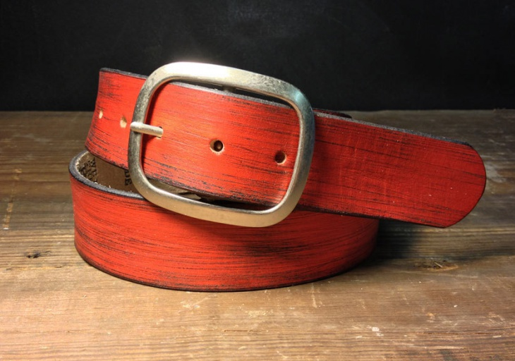 Distressed Red Leather Belt