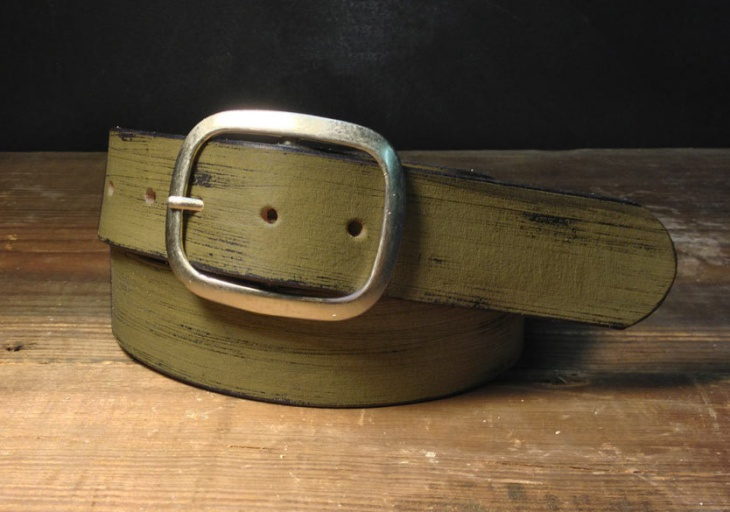 Green Distressed Leather Belt