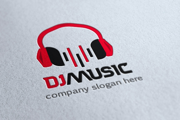 colorful dj music logo template