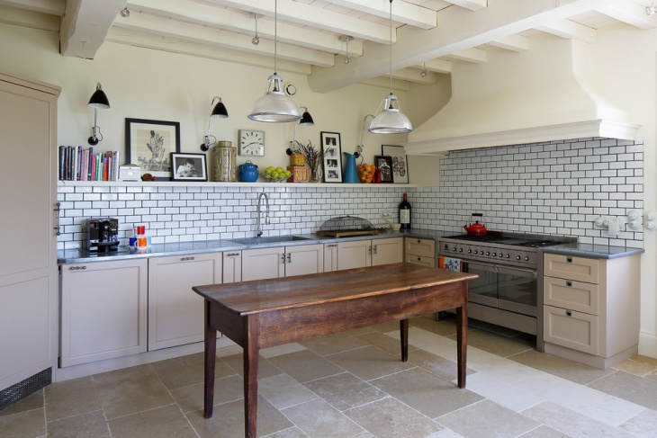 Country Kitchen with wooden Cabinets