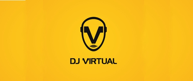 dj virtual logo design