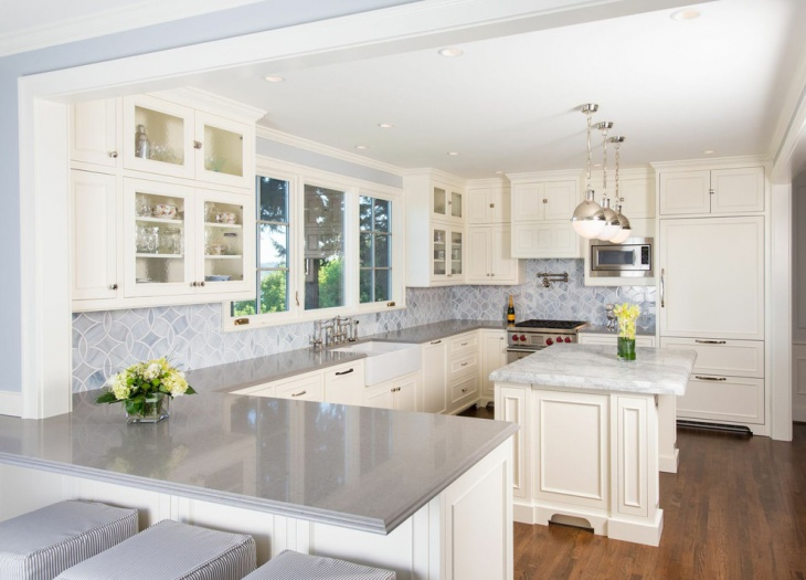 White Marbled French Country Kitchen